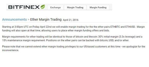 Margin Trading Ether with Bitfinex